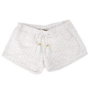 Miken White Crochet Shorts Swim Coverup Size Med